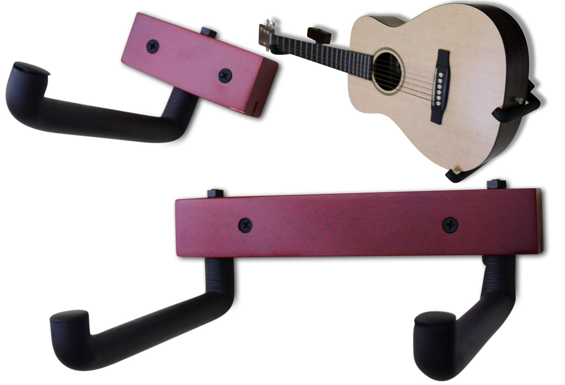 RawRock Horizontal Guitar Hanger Tilt and Display Your Guitar, Ukulele, Bass, Electric Guitar, Banjo at a Slanted Angle Sideways - Hang for easy access (Red Stain)