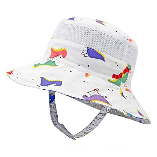 43d8293be7b5 Unisex Baby Toddler Kids Sun Hats Reversible Summer Adjustable Elastic  Bucket Hat with uv Protection
