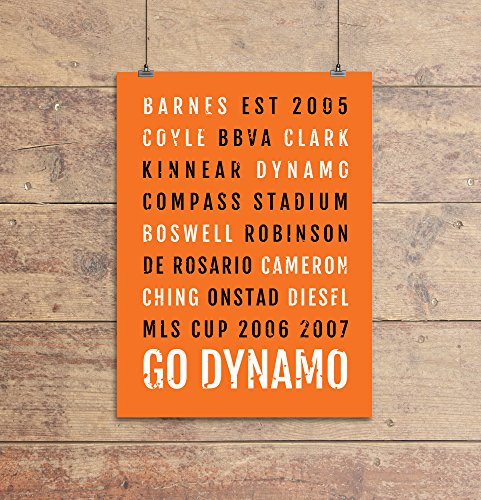 Houston Dynamo Print - Mls - Subway Poster, Boyfriend Gift, Husband Gift, Wall Art, Train Scroll, Bus Scroll, Word Art, Typography