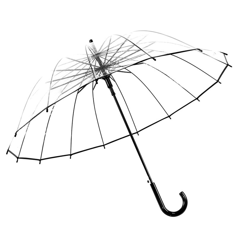 16 Ribs Windproof Stick Transparent Umbrella Auto Open Extra Wide Canopy Bent Handel Travel Umbrella for Men Women