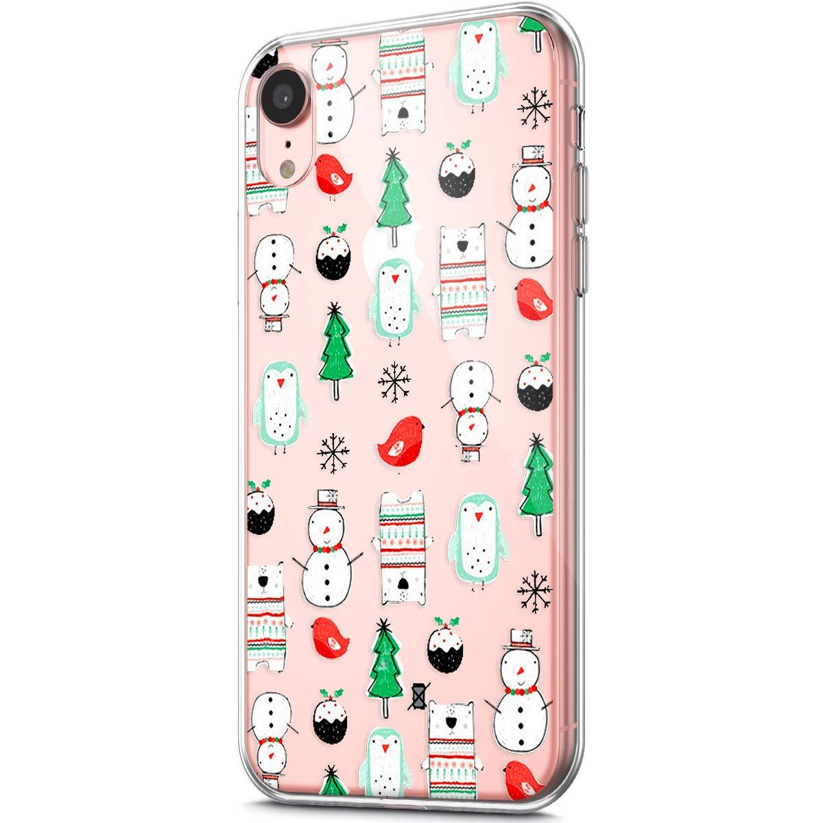 JAWSEU Funda iPhone XR, Transparente Fundas Carcasas Case Caso para iPhone XR, Flexible Ultra Suave TPU Navidad Cover Silicona Protecció n Delgada y Claridad para iPhone XR-#1 JBGMX001067X1