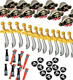Pirate Party Set - Pirate Birthday Party - Pirate Supplies - 12 Pirate Hats, Patches, Swords, Telescopes - by Funny Party Hats