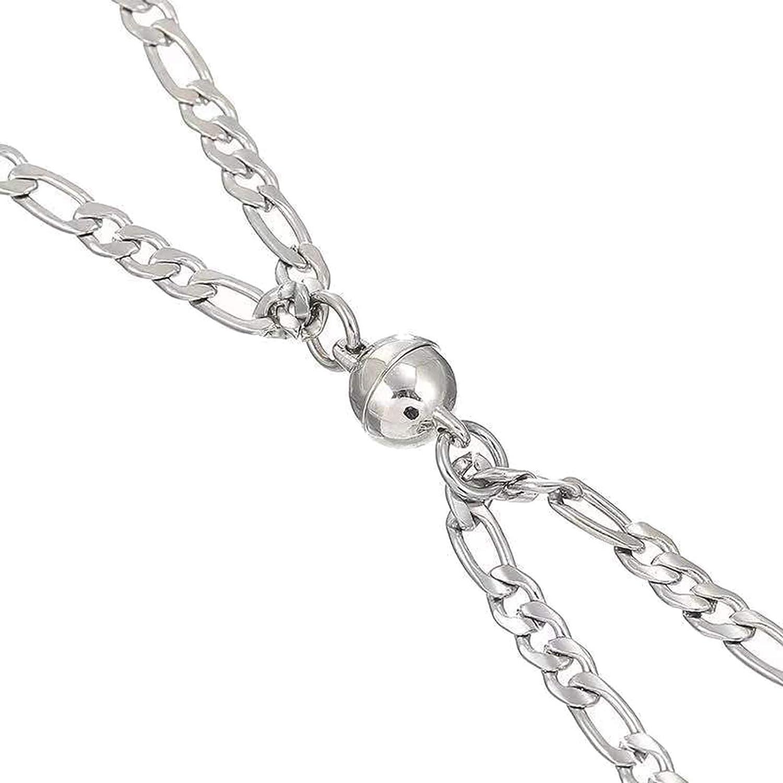 NAttnJf Collar unisex para mujer, 1 par de collares con imán de titanio, acero y titanio, decoración para el cuello para San Valentín, color plateado