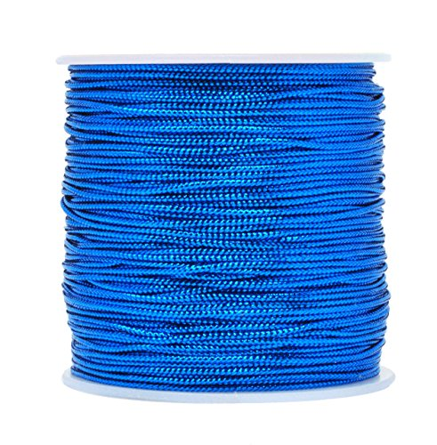 Mandala Crafts 1mm 2mm Non Stretch Gold Silver Jewelry Making Gift Wrap Ribbon Metallic Tinsel Cord Rope (1mm (120 Yards), Blue) ()