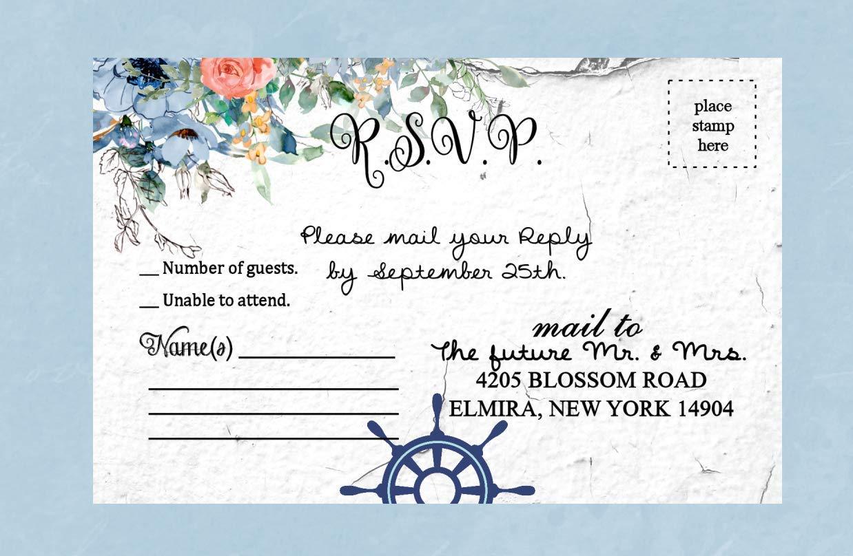 Beach Wedding Invitations Destination Ocean Sea Striped Set of 50