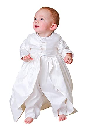 19d1cbd24 ShineGown Baby Boys' Baptism Outfits Long Sleeves Christening Gown Romper  with Coat and Bonnet 3Pcs