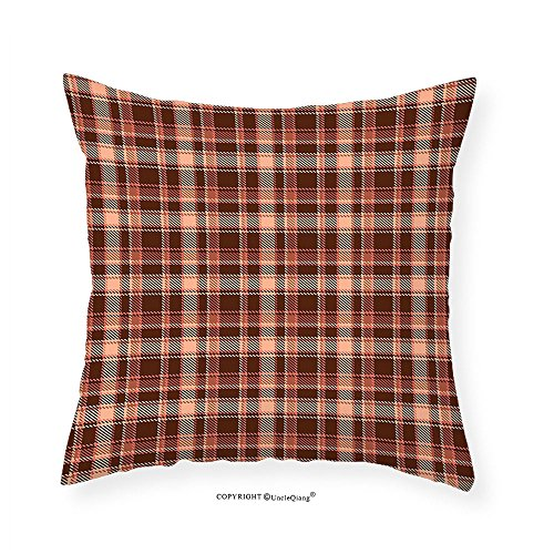 Check Needlepoint (VROSELV Custom Cotton Linen Pillowcase Vintage Medieval Check Pattern with Thick Striped Bars Textured Artistic Art Print for Bedroom Living Room Dorm Multicolor 24