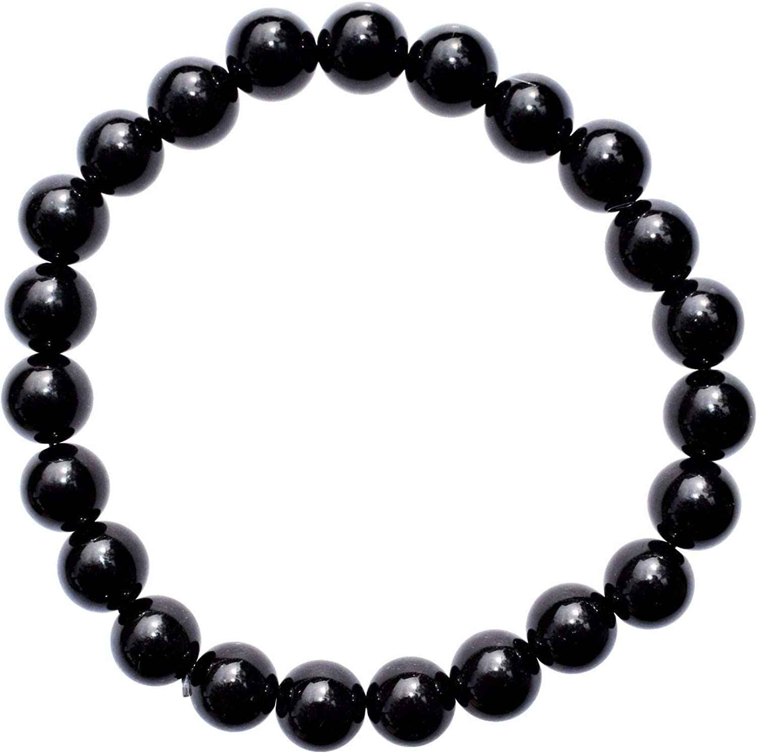 """Zenergy Gems Charged Premium 7"""" Black Obsidian Crystal 8mm Bead Bracelet + Selenite Heart Charging Crystal Included (Protective & GROUNDING)"""