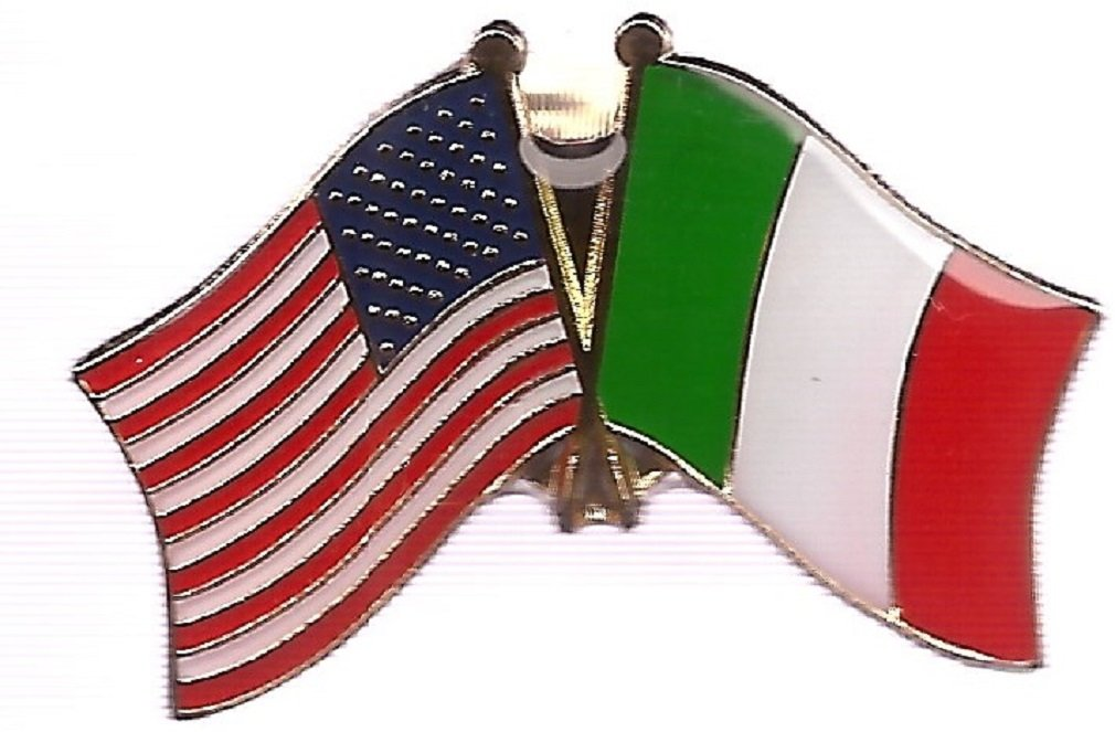 BOX OF 100 Italian Flag Lapel Pins, Italy Crossed Double Friendship Flag Pin by World Flags Direct