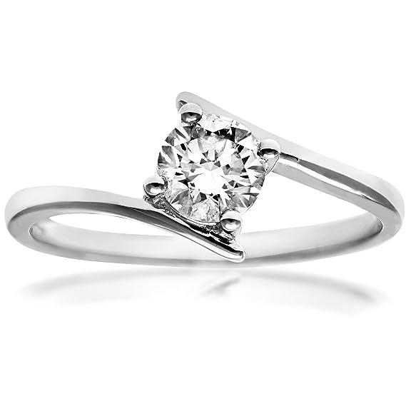 Naava Anillo para Mujer de Oro Blanco 18K con Diamante 0.25 ct Talla 12