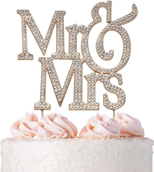 Amazon.com: Decoración para tarta de Mr and Mrs: Kitchen ...