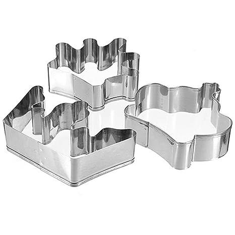 Juego de moldes cortadores de repostería de acero inoxidable para pasteles o galletas, 3 unidades