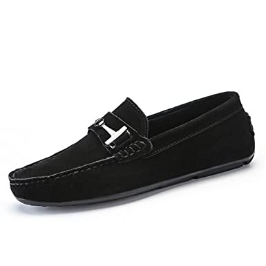 HYF Mens Driving Loafers Suede Genuine Leather Penny Moccasins Studs Sole With Metal Button Decor Business