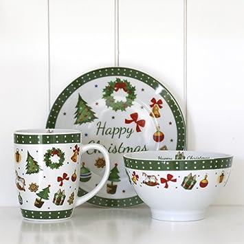 Jeu de 3 pièces vaisselle Motif en anglais Happy Christmas ...