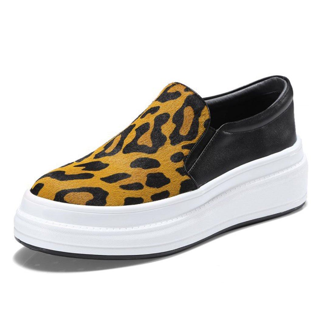 Damen Damen Leder Freizeitschuhe Loafers Pumps Plattform High Heels Smart Slip auf Trainer Mode Wild Skate Schuhe (Farbe   Gelb Größe   35)