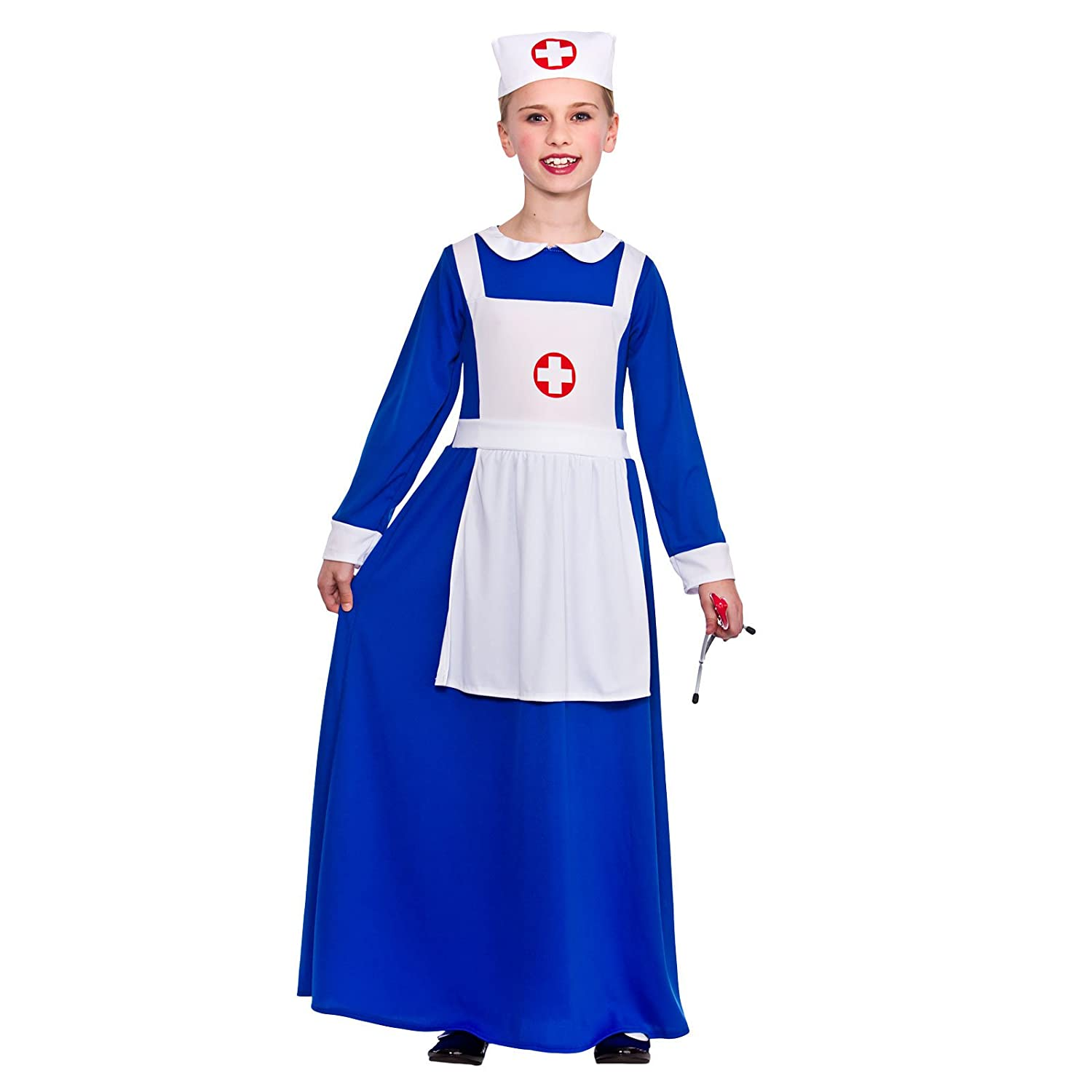 32f3a9466d7c1 Girls Wartime Nurse Fancy Dress Up Party Costume Halloween Child Outfit  Blue New: Amazon.co.uk: Toys & Games