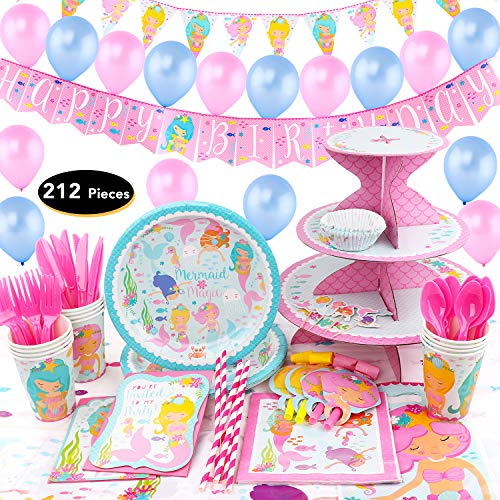 Mermaid Birthday Supplies (212Pieces Mermaid Birthday Set Party Supplies Serves 16 for Kids Birthday Theme Party Baby Shower School Party Daily)