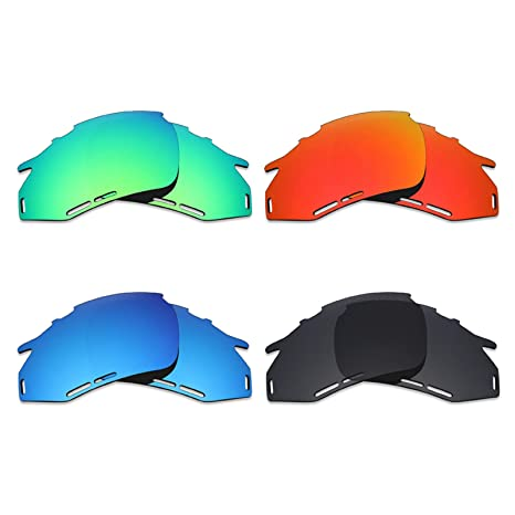 Mryok - Lentes polarizadas de repuesto para gafas de sol Rudy Project Fotonyk, 4 pares, color negro, rojo fuego, azul hielo, verde esmeralda