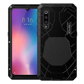Foluu Xiaomi Mi 9 Funda, Armadura híbrida de Aluminio Metal a Prueba de Golpes Marco de Parachoques Carcasa de Silicona Suave Militar Resistente ...