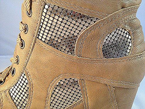 Baskets compensées montante talon bottine chaussures femme fille lacet TAUPE 33-4