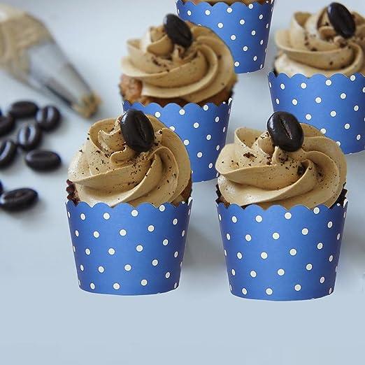 Beiersi 24 St/ück Wellenpunkt Papier Tassen Kuchen Party Muffin Kuchen Backen Baking Cup Blau