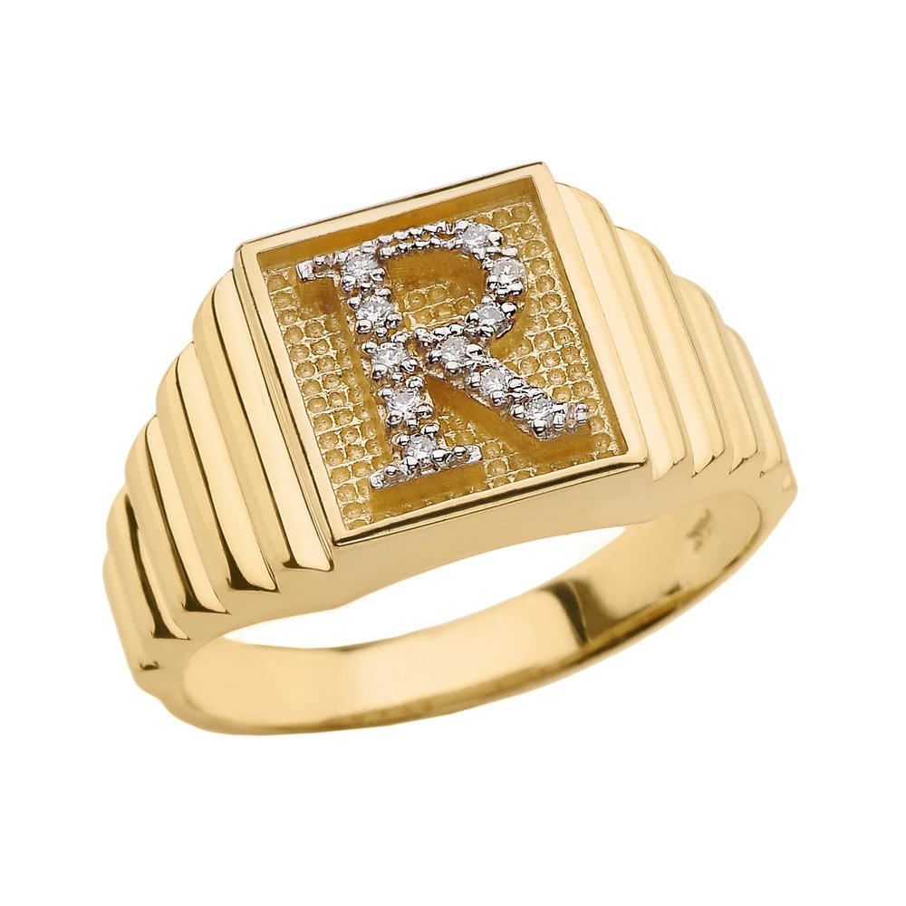Men's 10k Yellow Gold Layered Band Square Face Diamond Initial Letter R Ring (Size 10)