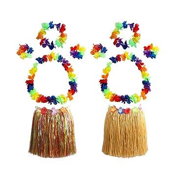 Amosfun 2 Juegos Falda de Hawaii Disfraz Fiesta Hawaiana 40 cm ...