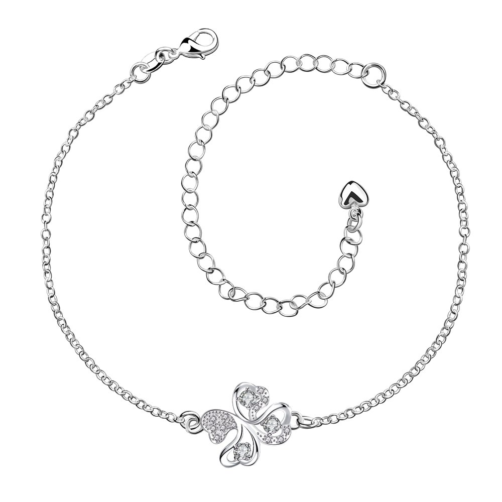 Mothers Day Jewelry Lucky Four Leaf Clover Shamrock Anklet and Earrings Sets