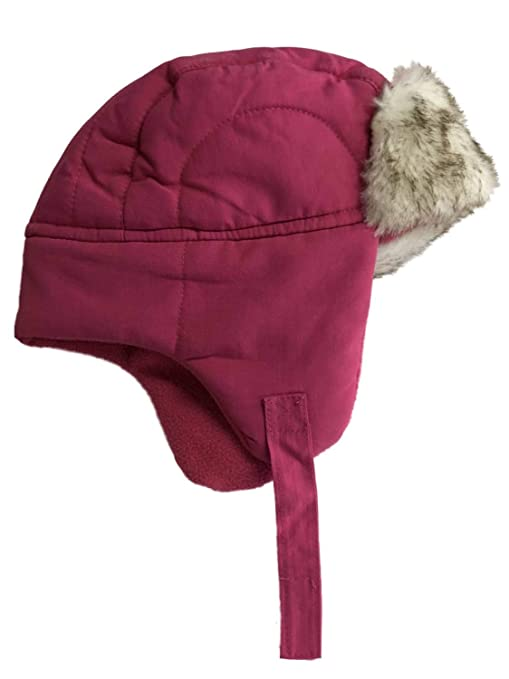 d82c51dce2c ABC Toddler Girls Hot Pink Trapper Hat with Faux Fur Trim Aviator Cap   Amazon.in  Baby