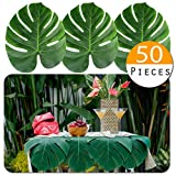 Vibe 50pcs Large Tropical Palm Leaves - Artificial, 13.8'' by 11.4'' for Luau Jungle Hawaii Theme Party Decorations