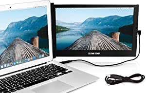 """SideTrak Portable Monitor for Laptop with Extra Cord   12.5"""" FHD 1080P IPS Attachable Second Laptop Screen   Efficient USB Power   Compatible with Mac, PC, Chrome 13""""-17"""" Laptops   Patent Pending"""