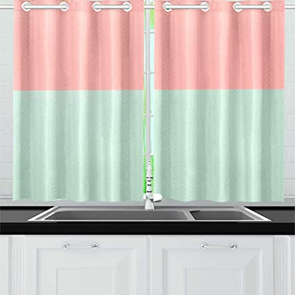 Qiaolii Texture Fashion Pastel Colors Rose Kitchen Curtains Window Curtain Tiers For Café Bath Laundry Living Room Bedroom 26 X 39 Inch 2 Pieces Amazon Co Uk Kitchen Home