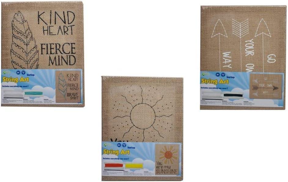 "Decorative Needlepoint Craft Kit Pack of 3 -You are My Sunshine/"", /""Brave Spirit, /""Go Your Own Way/"" Burlap String Art Kit Set Gifting Ideas"