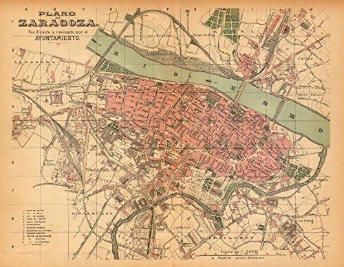 Zaragoza Saragossa plano Antiguo Cuidad Antiguo Ciudad/ciudad Plan. Martin – C1911 – Old Antiguo Mapa Vintage – Mapas de Impreso de España: Amazon.es: Hogar
