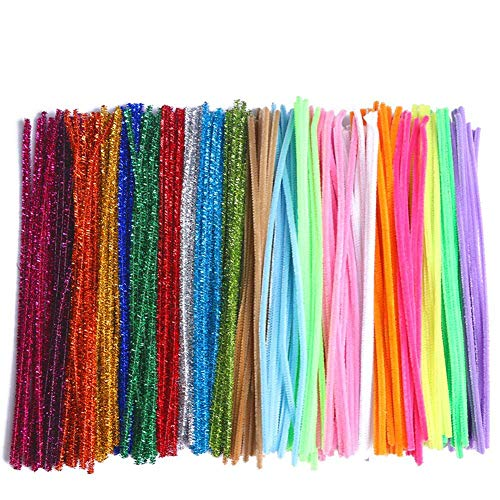 COCODE Pipe Cleaners for Crafts, 300Pcs 20 Colors Chenille Pipe Cleaners for Kids Creation Animals Characters Handcrafts Art Craft Project, 6 mm x 12 Inch DIY Activity Gift Decoration Ornaments