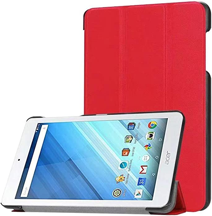 "Ultra Slim Folio Stand Luxury Leather Case with Sleep Wake Up Function Smart Cover for Acer Iconia One 8 B1-850 B1-860 B1-870 / One8 B1-860A 8"" (Red)"