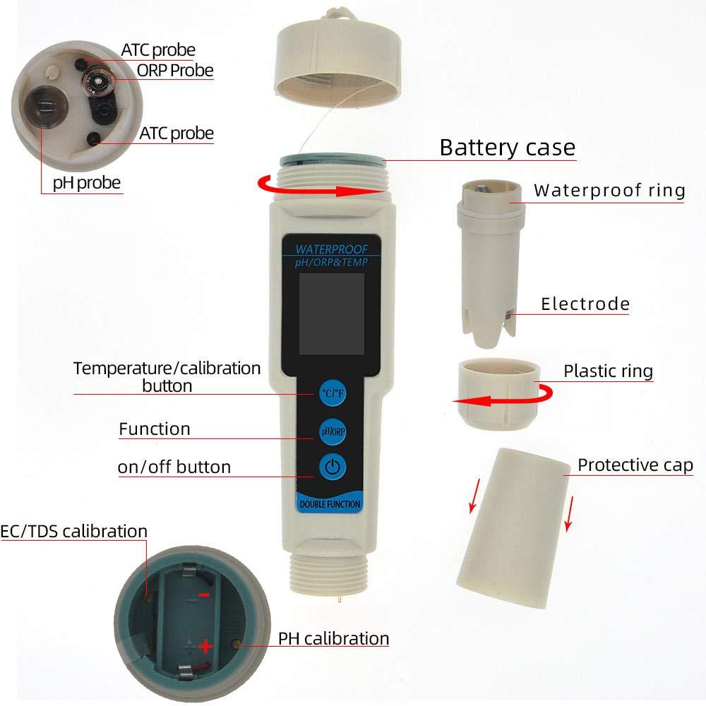 NZHSAMJ Medidor de PH a Prueba de Agua ORP Medidor de pH 3 en 1 Temp de ORP Medidores de potencial redox Medidor de Calidad del Agua Detector de Agua