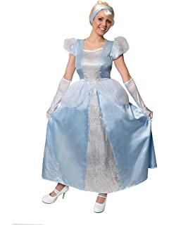 acf356a62f LADIES CINDERELLA FANCY DRESS COSTUME DELUXE LOST SHOE QUEEN - BEAUTIFUL  BLUE SATIN DRESS WITH SEQUIN