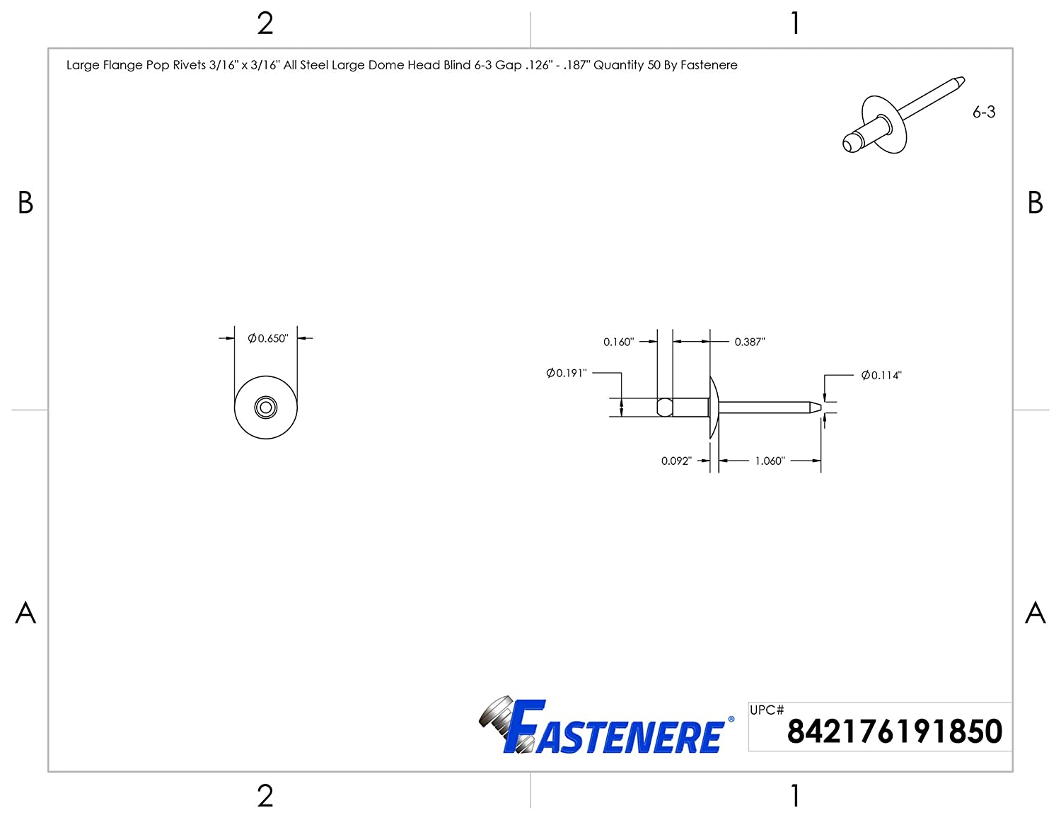 Large Flange Pop Rivets 1//4 x 3//8 All Steel Large Dome Head Blind 8-6 Gap .251 .375 Quantity 25 by Fastenere