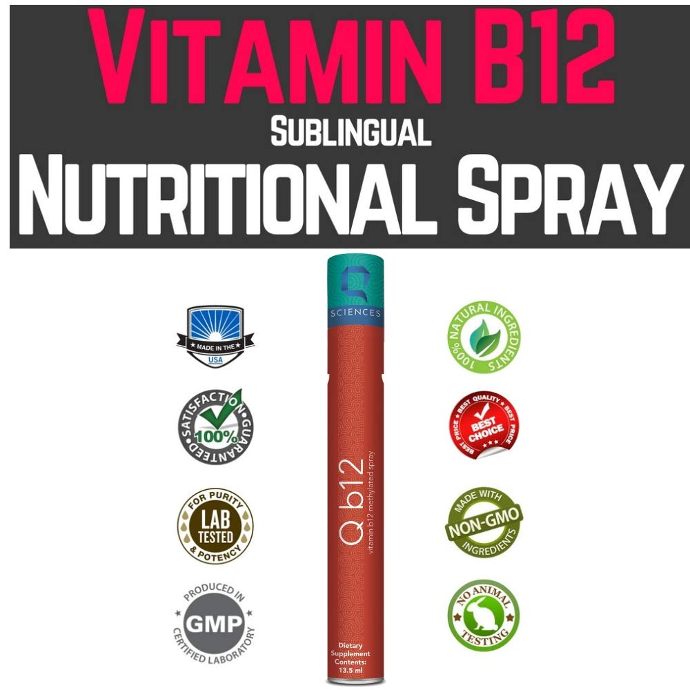 Q B12 Supplement and Vitamin B12 Methylcobalamin Sublingual Spray – Methyl B12, Vitamin B12 Energy Spray for Weight Loss, Vitamin for Vegans and Vegetarians, Brain Supplement for Memory, 240 Sprays
