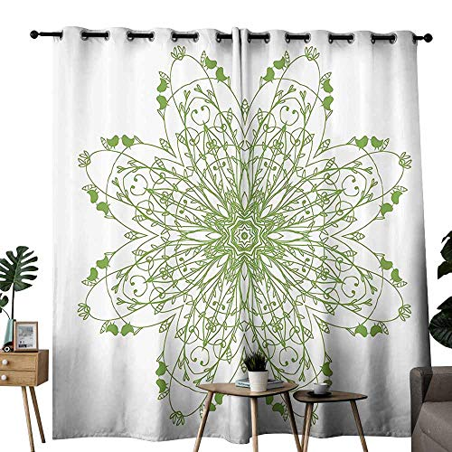 (Celtic Decor Collection Bedroom windproof curtain Oriental Flower Design Circle Pattern with Laurel Leaves and Birds Floral Renaissance Print Suitable for Bedroom Living Room Study, etc.W96