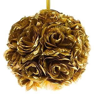 """Q.J. Import, Inc 10"""" Gold Flower Pomander Kissing Ball 32"""