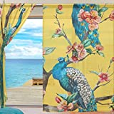 SEULIFE Window Sheer Curtain Tropical Flower Animal Peacock Tree Voile Curtain Drapes for Door Kitchen Living Room Bedroom 55x78 inches 2 Panels