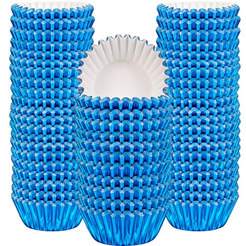 Sumind 400 Pieces Mini Cupcake Cup Liners, Foil Baking Cups, Foil Cupcake Liners for Baking Muffin and Cupcakes - Cupcake Mini Liners Blue