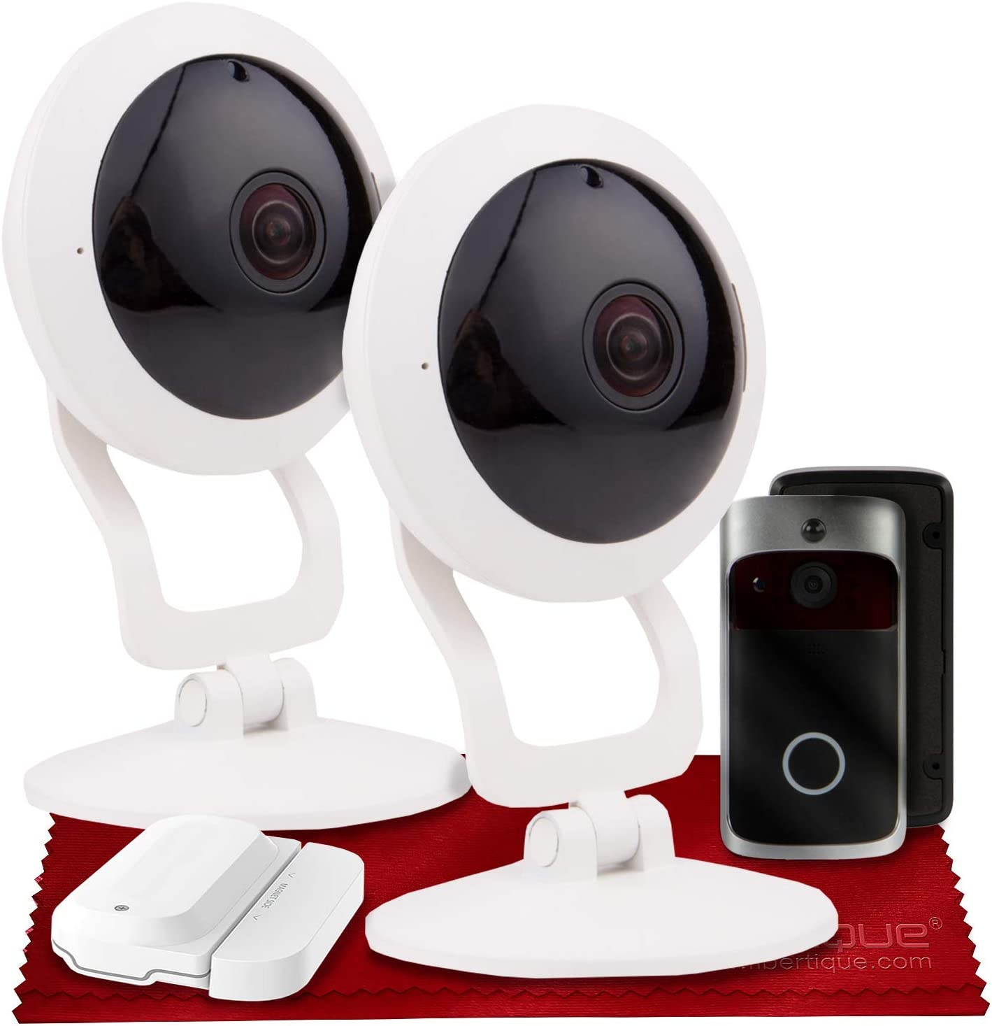 Vivitar IPC117 360 Wide Angle 1080p HD Wi-Fi Smart Home Security Camera W/ iOS/Android App (x2) + Vivitar Wireless Video Doorbell & Vivitar WiFi Door Sensor