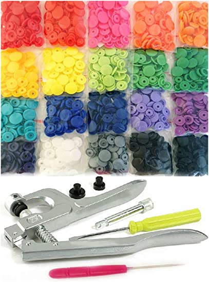 384 Sets 24-Colors KAM Snaps Buttons Snap Pliers Starter Fasteners Kit Size 20 T5 KAM Snap Plastic Fasteners Punch Poppers Closures No-Sew Buttons for Crafts Cloth Diaper Bibs