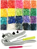 200 Professional-Grade KAMsnaps 20-Color Starter Pack: KAM Snaps Snap Press Pliers Plastic Snap-On Buttons Fasteners Installation Punch Poppers Attachment Setting Tool for Bibs Diapers