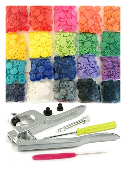 200 Commercial Quality KAMsnaps 20-Color Starter Pack: KAM Snaps Snap Press  Pliers Plastic Snap-On Buttons Fasteners Installation Punch Poppers