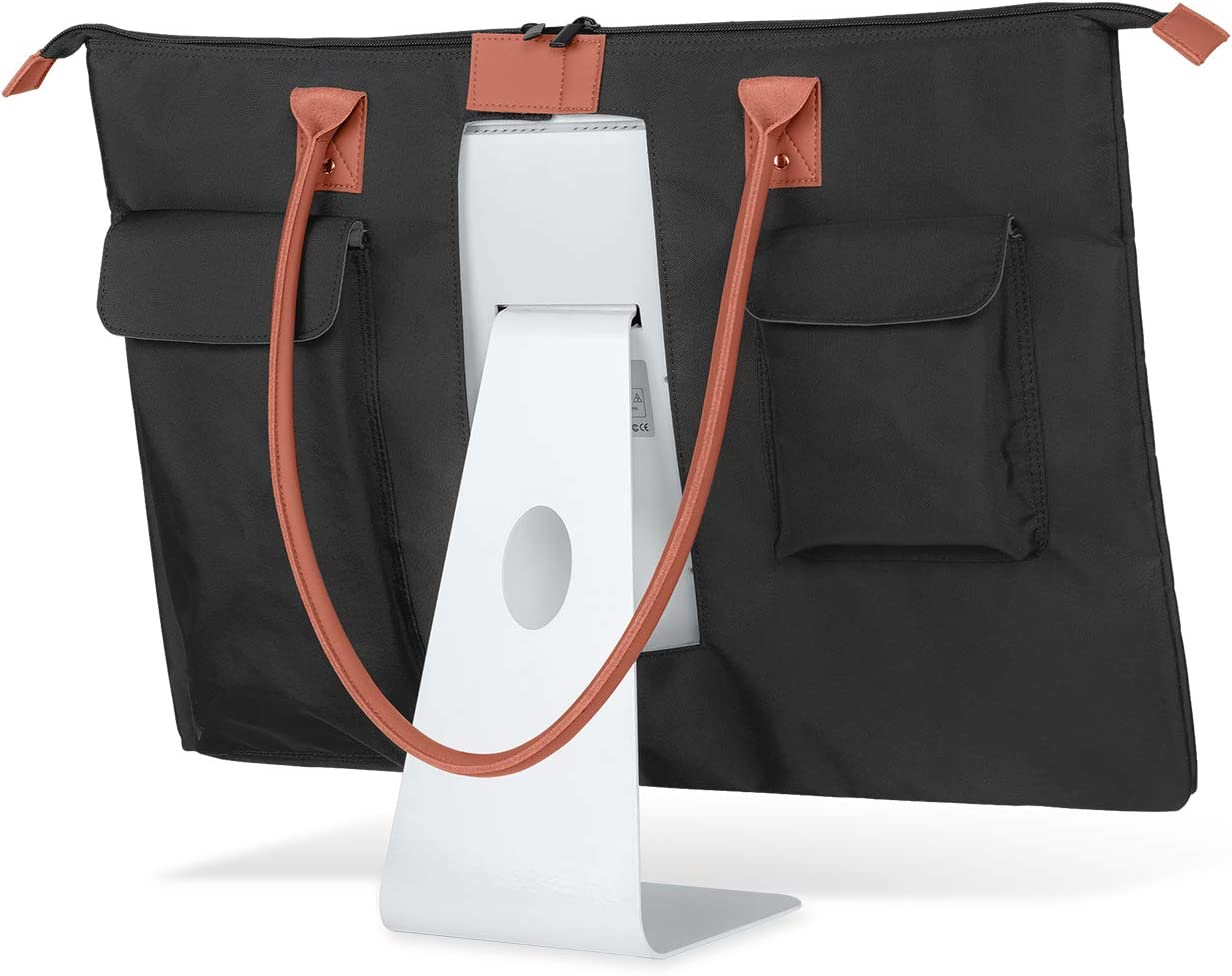"""CURMIO Carrying Case for Apple 21.5"""" iMac Desktop Computer, Travel Tote Bag Protective Shoulder Bag with PU Leather Handle for 21.5"""" iMac Monitor and Accessories"""