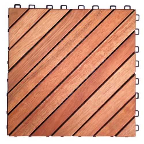 VIFAH V182 Interlocking FSC Eucalyptus Deck Tile 12-Slat Diagonal Design, 10-Pack, Natural Wood Finish, 11 by 11 by 1-Inch (Concrete Patio Over Pavers)
